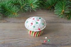 Cupcake με τη διακόσμηση αστεριών Στοκ φωτογραφία με δικαίωμα ελεύθερης χρήσης