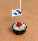 Cupcake με τη σημαία της Ουρουγουάης Στοκ Εικόνες
