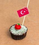 Cupcake με τη σημαία της Τουρκίας Στοκ Φωτογραφίες