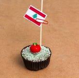 Cupcake με τη σημαία του Λιβάνου Στοκ φωτογραφία με δικαίωμα ελεύθερης χρήσης