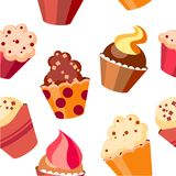 cupcake πρότυπο άνευ ραφής Στοκ φωτογραφία με δικαίωμα ελεύθερης χρήσης