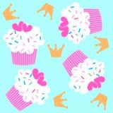 cupcake πρότυπο άνευ ραφής Στοκ Εικόνα