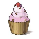 Cupcake στην άσπρη ανασκόπηση Στοκ Εικόνα