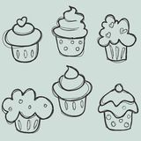 cupcake συρμένο σύνολο χεριών Στοκ Εικόνα