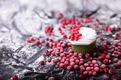 cupcake, το διάστημα, πάγος, κρέμα, πράσινος, κόκκινος, άσπρη, υπόβαθρο, διακοπές, φρέσκες, Χριστούγεννα, τρόφιμα, έψησε, γλυκό,  Στοκ εικόνα με δικαίωμα ελεύθερης χρήσης