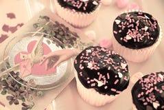 cupcake τρύγος βαλεντίνων Στοκ Εικόνες