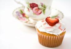 cupcake φράουλα Στοκ Εικόνες
