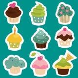 cupcake χαριτωμένες αυτοκόλλη& Στοκ εικόνα με δικαίωμα ελεύθερης χρήσης