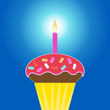 Cupcake with 1 candle Royalty Free Stock Images