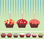 Cupcake. On green with Clipping Path vector illustration
