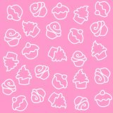 Cupcake. Seamless pattern. white  illustrations isolated on pink background Royalty Free Stock Image