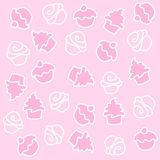 Cupcake. Seamless pattern. white illustrations isolated on pink background stock illustration