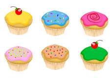 Cupcake. Illustration set of cute cup cakes and fairy cakes Royalty Free Stock Image