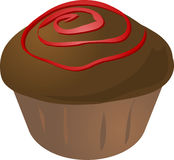 Cupcake. Chocolate with jam swirl cupcake muffin. Vector isometric illustration Stock Photography