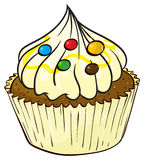 A cupcake. Illustration of an isolated a cupcake on a white background Royalty Free Stock Photography
