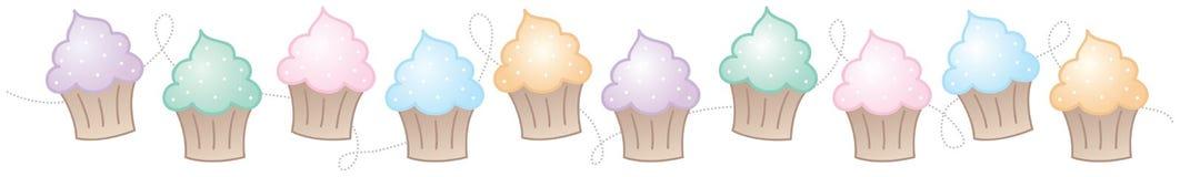 σύνορα cupcake οριζόντια Στοκ Εικόνα