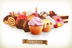 Εορταστικό cupcake με το κερί Στοκ Εικόνα