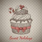 Χριστούγεννα cupcake στο ύφος σκίτσων Στοκ εικόνες με δικαίωμα ελεύθερης χρήσης