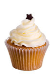 Cupcake. Decorated with frosting and a chocolate star Royalty Free Stock Images