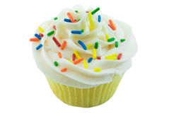 Cupcake. Single cupcake close up isolated on white Royalty Free Stock Images