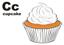 Cupcake and abc. Tasty cupcake with word cupcake and letters c stock illustration