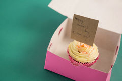 Cupcake against with happy mother day card green background Royalty Free Stock Photography