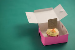 Cupcake against with happy mother day card green background Stock Photos