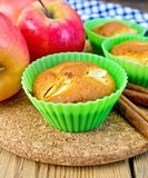 Cupcake with apples on board Stock Photos