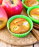 Cupcake with apples on wooden board Royalty Free Stock Image