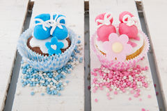 Cupcake for a baby girl and boy Royalty Free Stock Photography