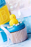 Cupcake for a baby shower. Cupcake decorated for a baby shower royalty free stock photos