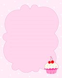 Cupcake background. Cupcake notepaper background. colorful cupcake illustrations isolated on light pink lined background Royalty Free Stock Image
