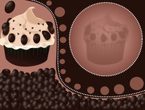 Cupcake background. Illustration of cupcake background with chocolate covered coffee beans stock illustration