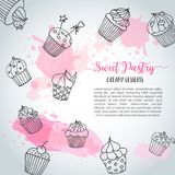 Cupcake background with handdrawn cupcakes and pink splashes. Sweet pastry slogan. Vector. Illustartion Royalty Free Stock Images