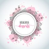 Cupcake background with handdrawn cupcakes and pink splashes. Sweet pastry slogan. Vector. Illustartion Royalty Free Stock Photo