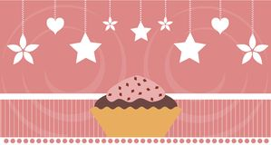 Colorful Cupcake background with hearts and stars. Image representing e delicious cupcake on an abstract background with hearts, stars and flowers. A nice idea Royalty Free Stock Photography