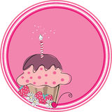 Cupcake badge. Vector illustration of cupcake with candle on pink circle background stock illustration