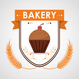 Cupcake bakery creamy tasty cherry badge Royalty Free Stock Image