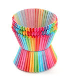 Cupcake baking cup rainbow on white background Royalty Free Stock Photo