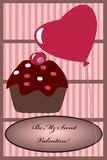 Cupcake Balloon Valentine card Royalty Free Stock Photos