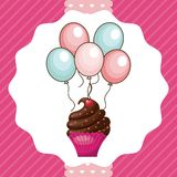 Cupcake and balloons icon. Happy Birthday design. Vector graphic Stock Images