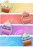 Cupcake banner. Vector image. Colorful banner set with cupcakes Stock Photos