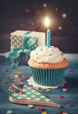 Cupcake with birthday candle Royalty Free Stock Photo