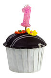 Cupcake with birthday candle for one year old Royalty Free Stock Photography