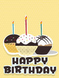 Cupcake birthday card illustrated. Full colour Stock Photos