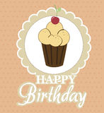 Cupcake birthday design. Cupcake birthday  design over dot background vector illustration Royalty Free Stock Photography