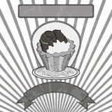 Cupcake black and white Stock Images