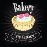 Cupcake on blackboard Stock Photos