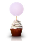 Cupcake with a blank sign front view Royalty Free Stock Image