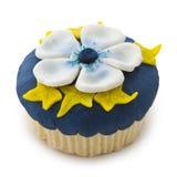 Cupcake in blauw, geel en wit Royalty-vrije Stock Afbeelding